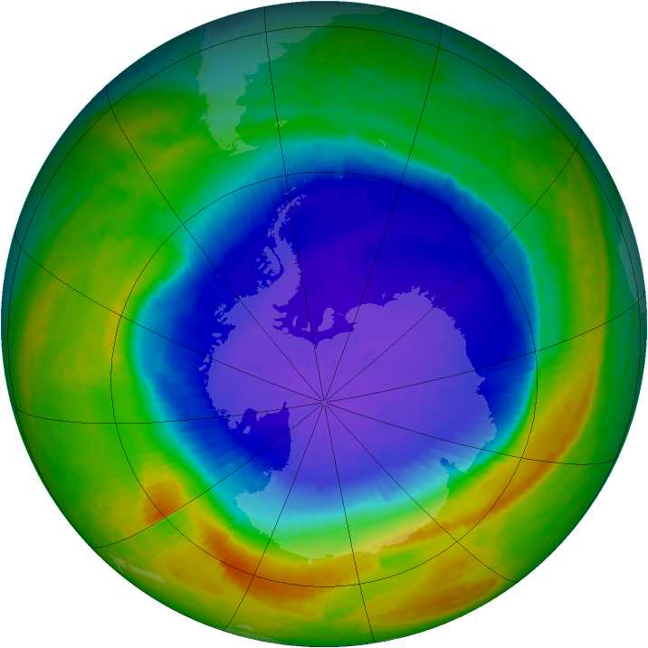 Antarctic ozone map for 05 October 2004