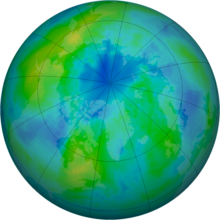 Arctic ozone map for 06 October 2004