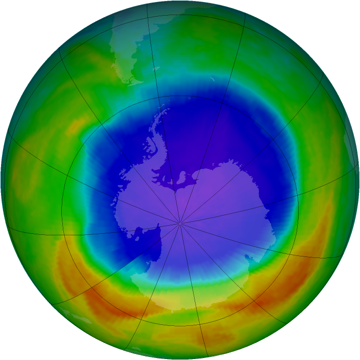 Antarctic ozone map for 06 October 2004