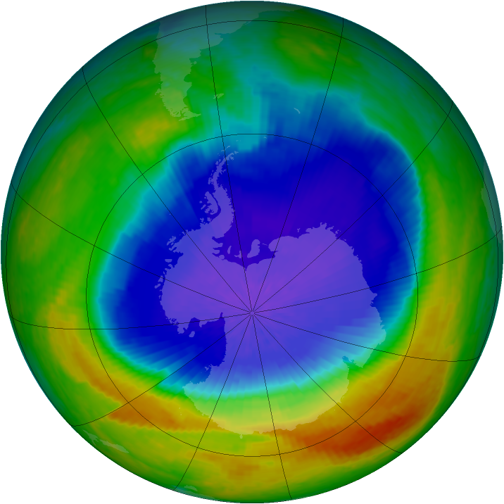 Antarctic ozone map for 07 October 2004