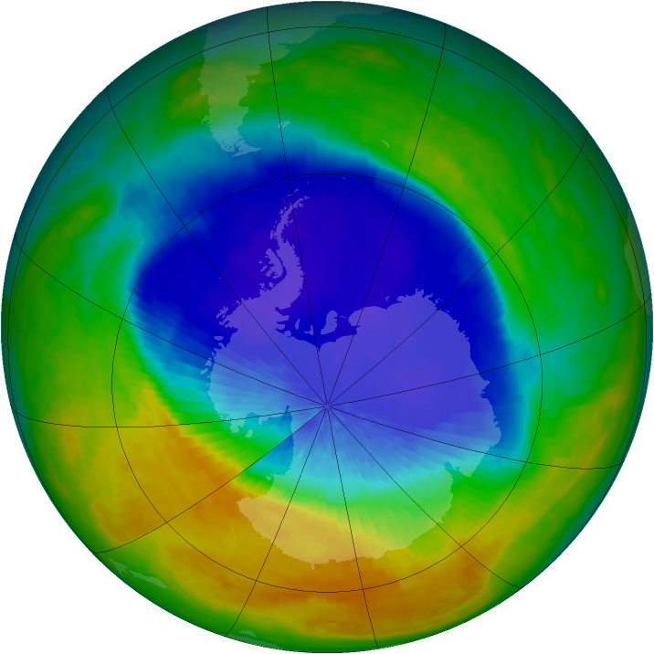 Antarctic ozone map for 11 October 2004