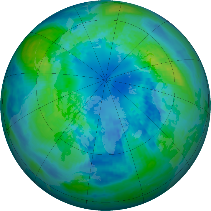 Arctic ozone map for 12 October 2004