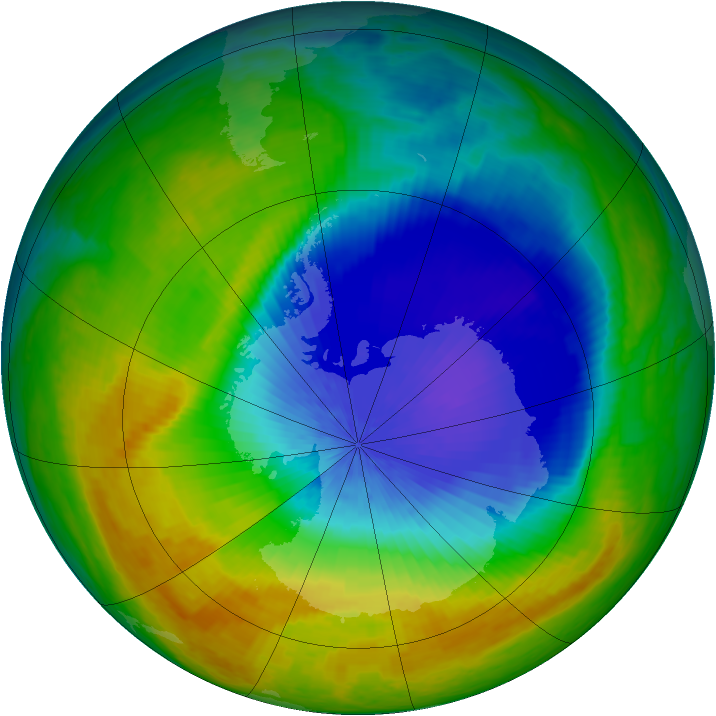 Antarctic ozone map for 16 October 2004