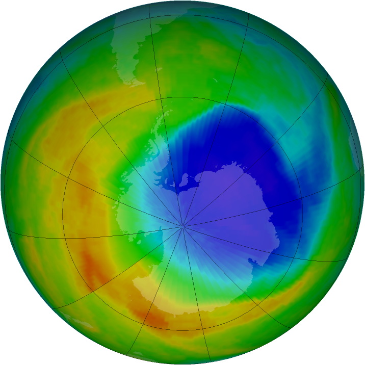 Antarctic ozone map for 19 October 2004