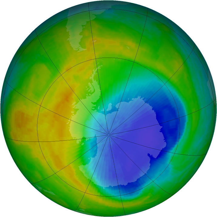 Antarctic ozone map for 23 October 2004