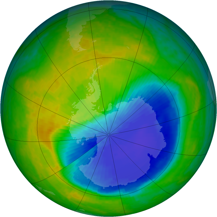 Antarctic ozone map for 25 October 2004