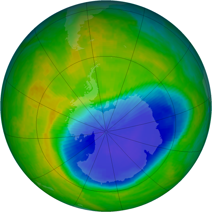 Antarctic ozone map for 26 October 2004