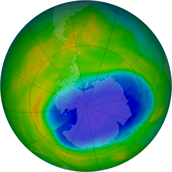 Antarctic ozone map for 27 October 2004