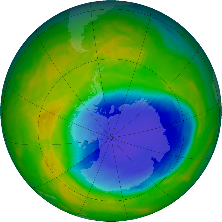 Antarctic ozone map for 28 October 2004