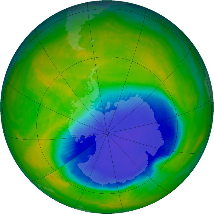 Antarctic ozone map for 31 October 2004