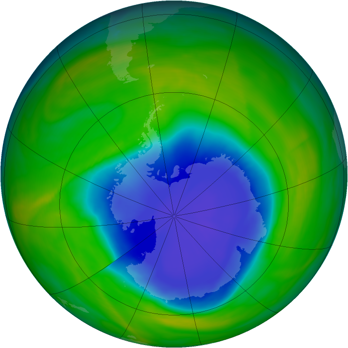 Antarctic ozone map for 02 November 2004