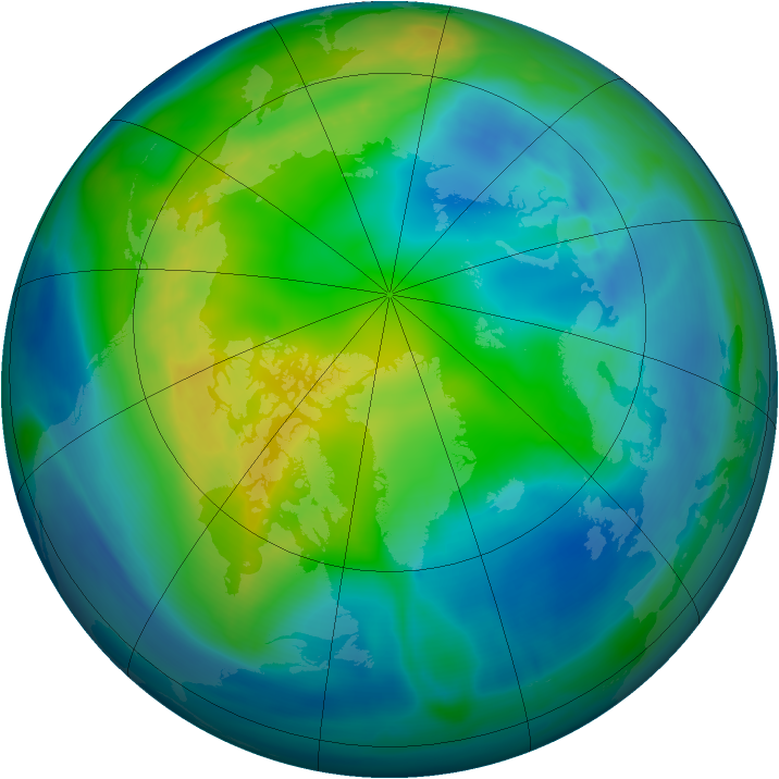 Arctic ozone map for 05 November 2004