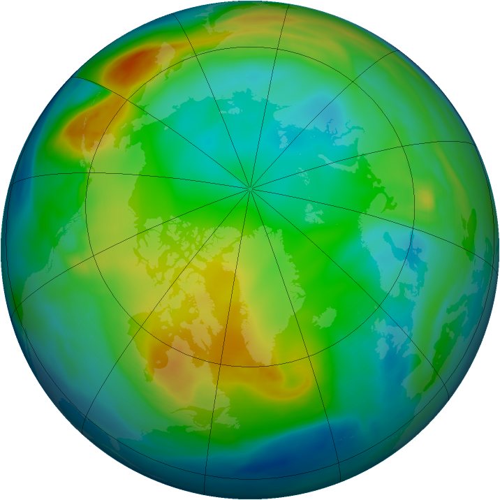 Arctic ozone map for 05 December 2004