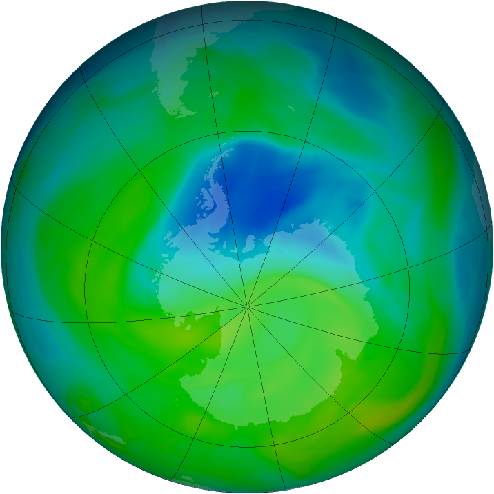 Antarctic ozone map for 05 December 2004
