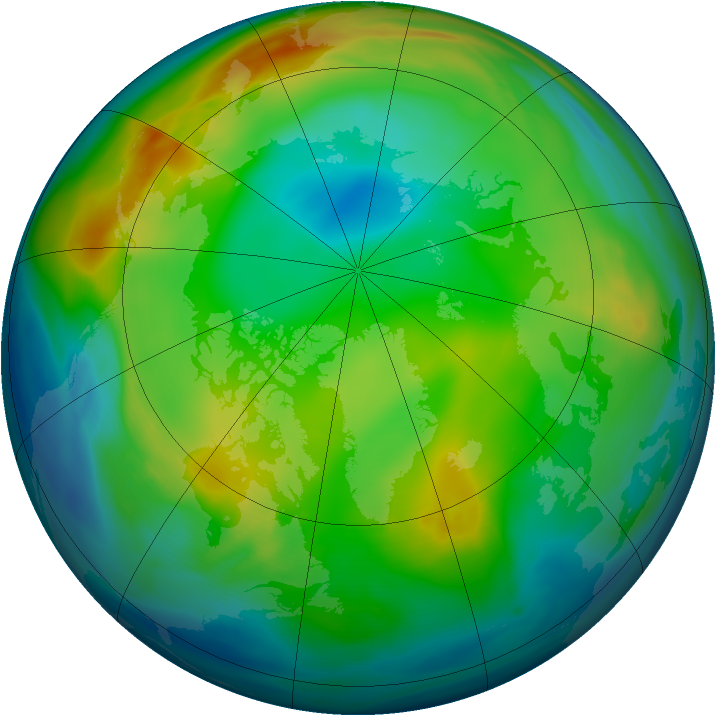 Arctic ozone map for 09 December 2004