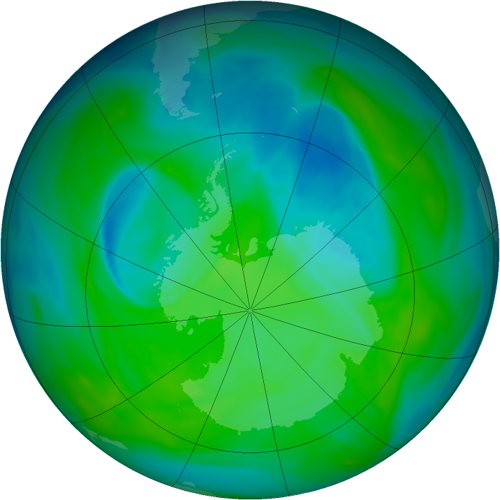 Antarctic ozone map for 09 December 2004