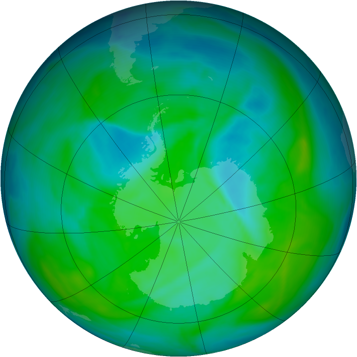 Antarctic ozone map for 11 December 2004