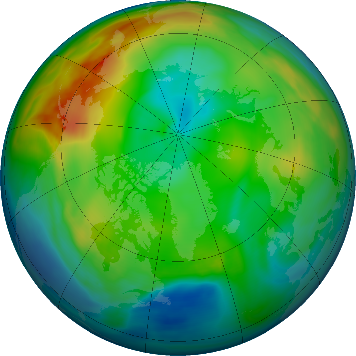 Arctic ozone map for 12 December 2004
