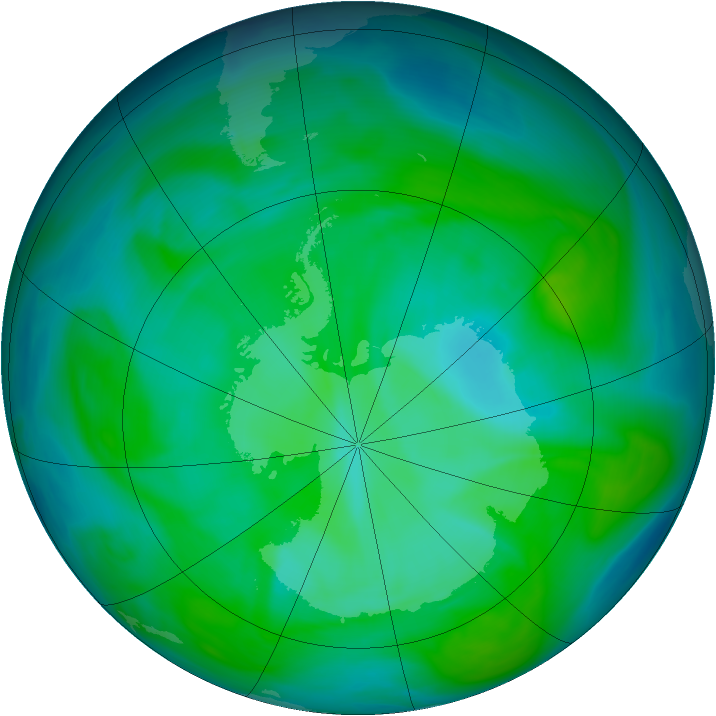 Antarctic ozone map for 16 December 2004