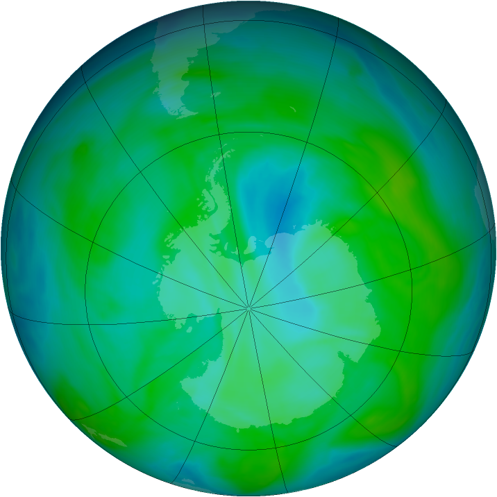Antarctic ozone map for 18 December 2004