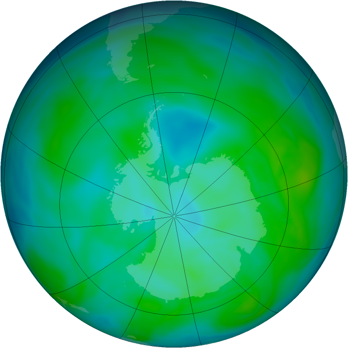 Antarctic ozone map for 19 December 2004