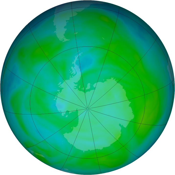 Antarctic ozone map for 21 December 2004