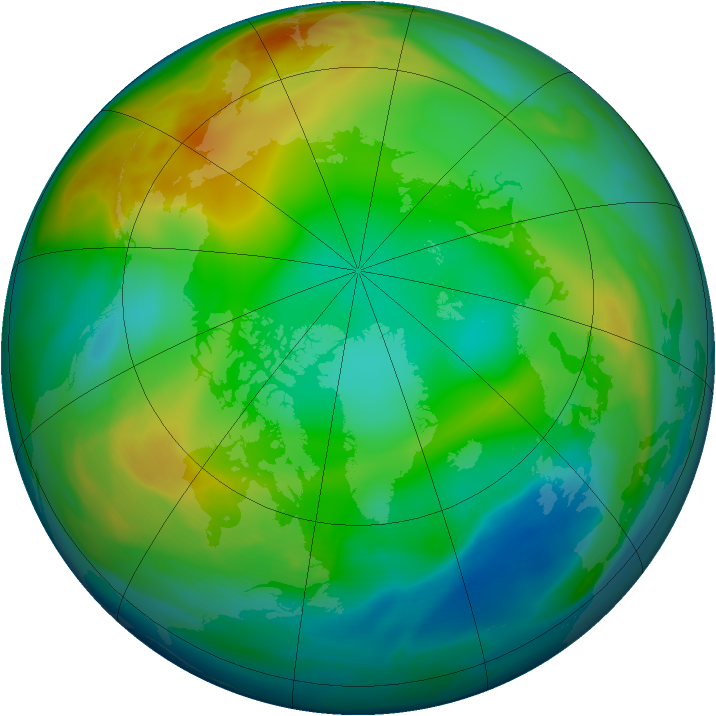 Arctic ozone map for 22 December 2004