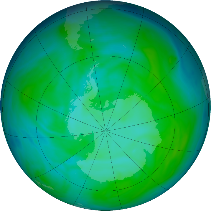 Antarctic ozone map for 23 December 2004