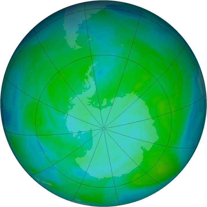 Antarctic ozone map for 26 December 2004