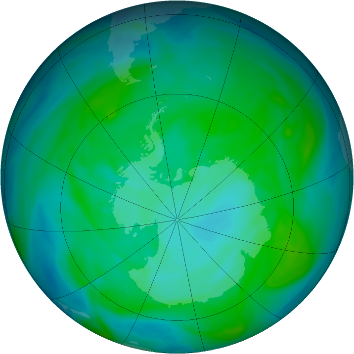 Antarctic ozone map for 29 December 2004