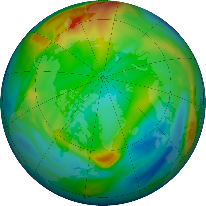 Arctic ozone map for 31 December 2004