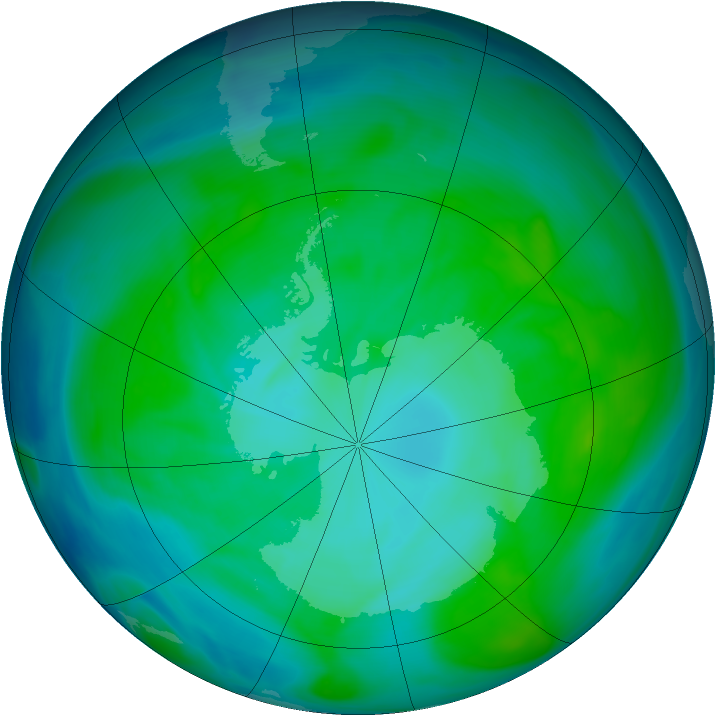 Antarctic ozone map for 31 December 2004