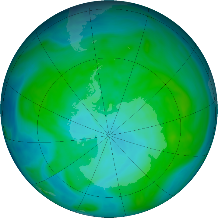 Antarctic ozone map for 01 January 2005