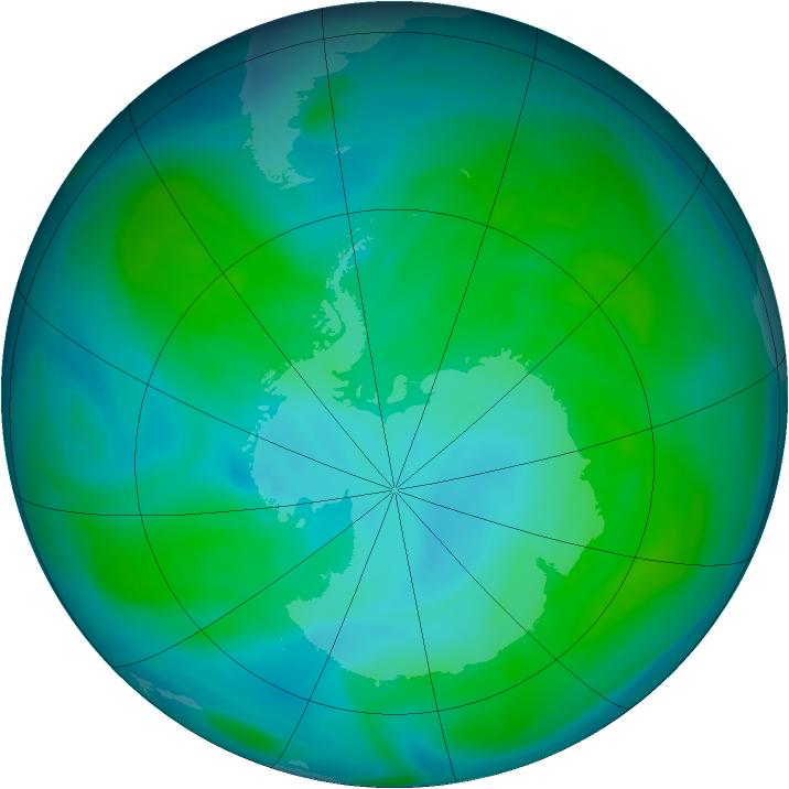 Antarctic ozone map for 03 January 2005