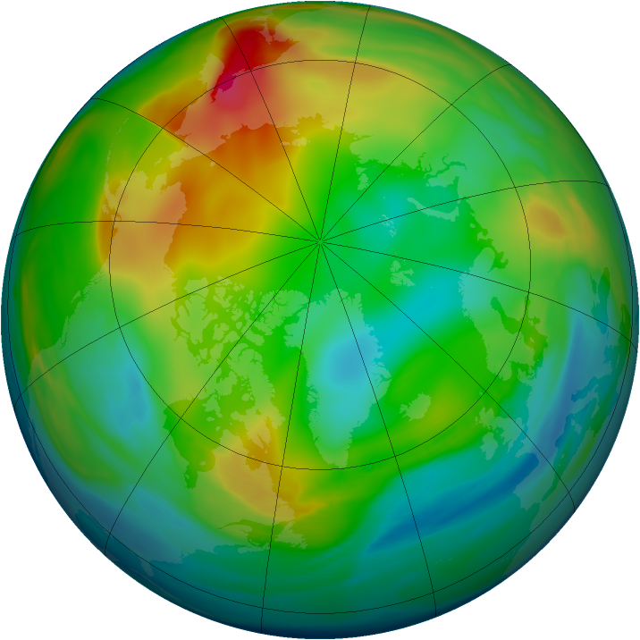 Arctic ozone map for 05 January 2005