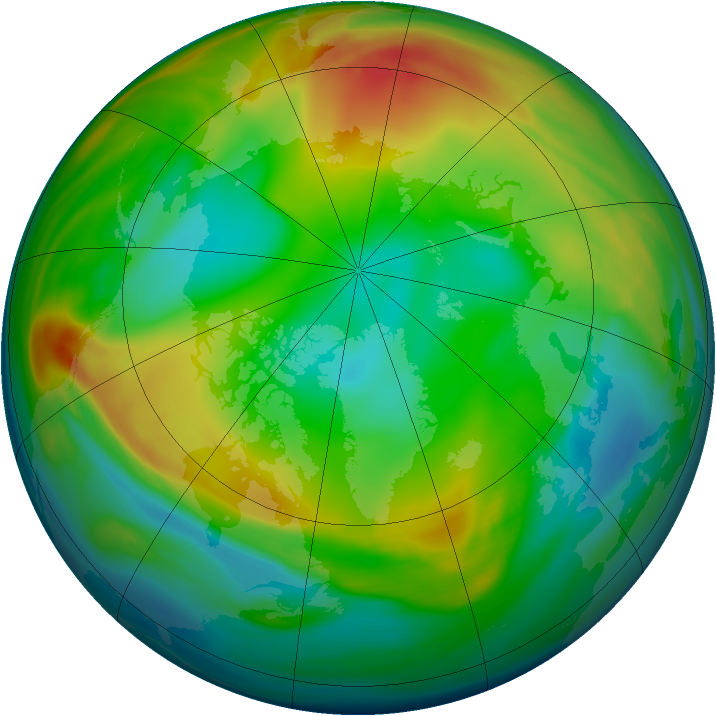 Arctic ozone map for 07 January 2005
