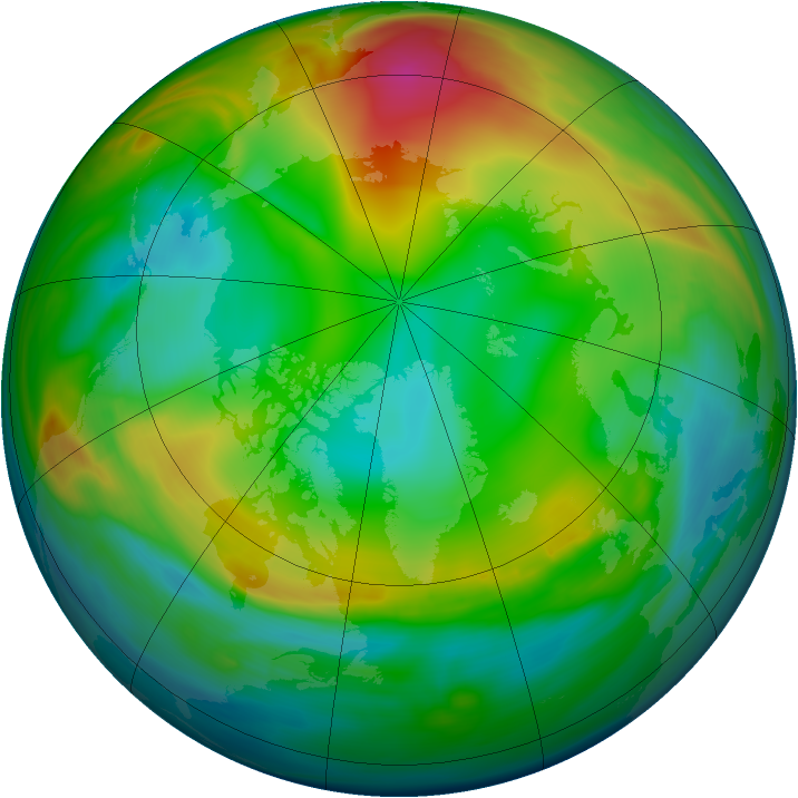 Arctic ozone map for 08 January 2005