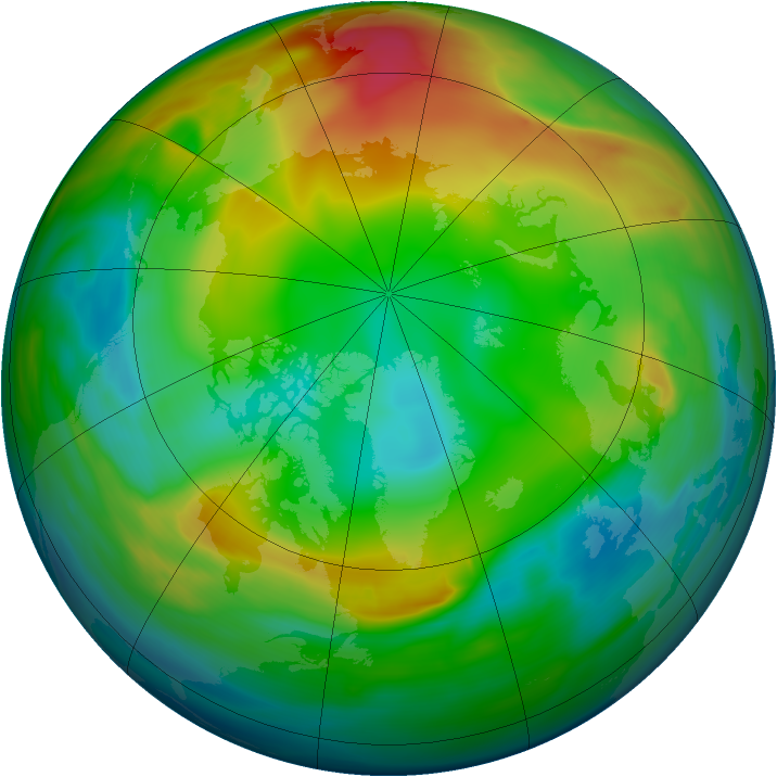 Arctic ozone map for 09 January 2005
