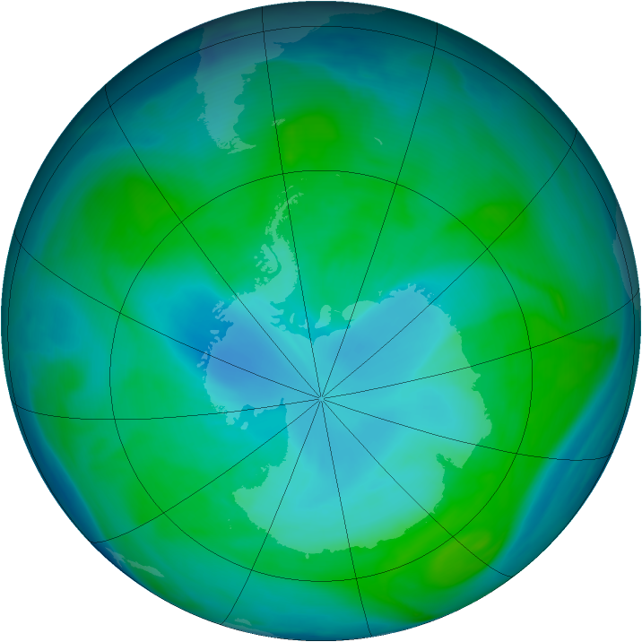 Antarctic ozone map for 09 January 2005