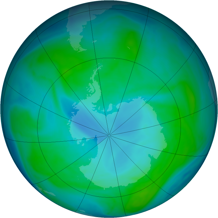 Antarctic ozone map for 10 January 2005