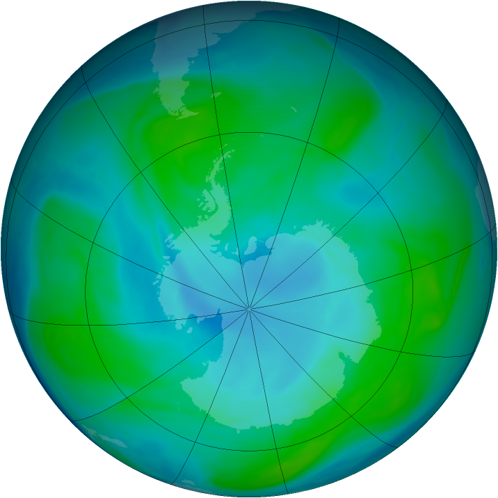 Antarctic ozone map for 11 January 2005