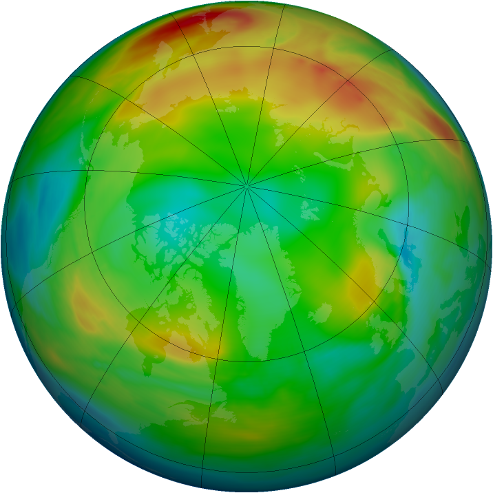 Arctic ozone map for 12 January 2005