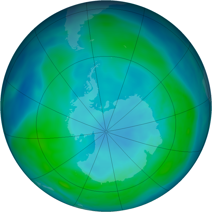 Antarctic ozone map for 20 January 2005