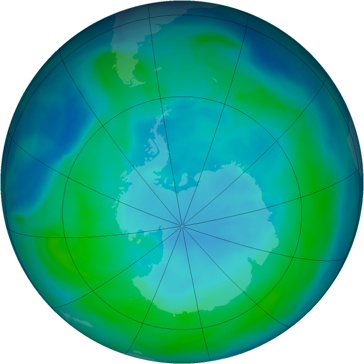 Antarctic ozone map for 21 January 2005