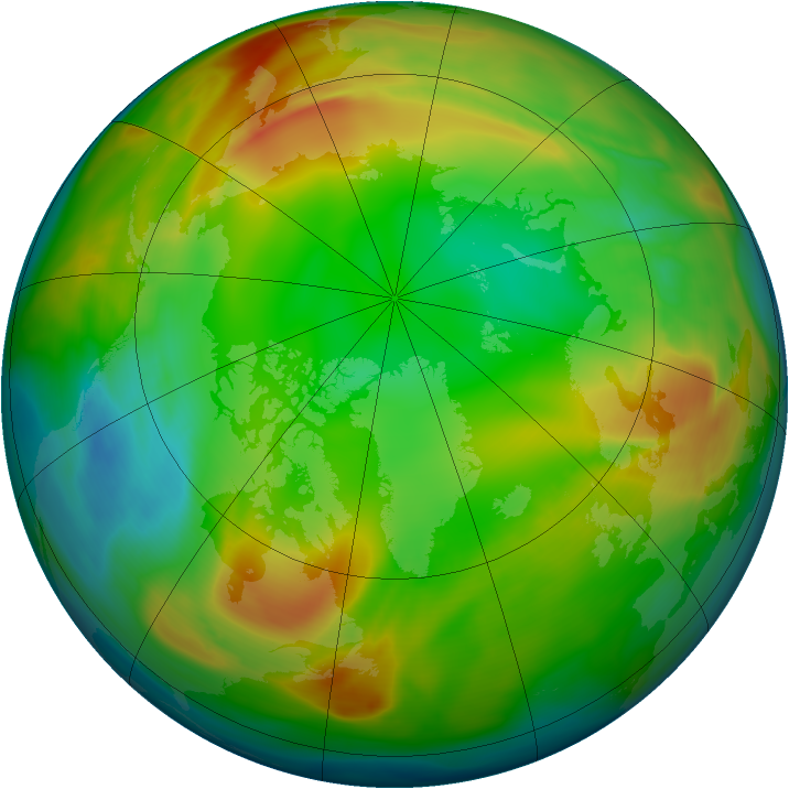 Arctic ozone map for 22 January 2005