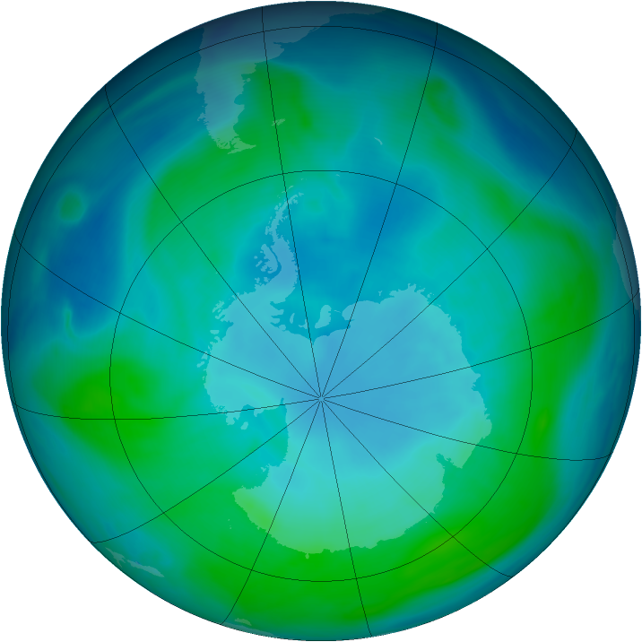 Antarctic ozone map for 22 January 2005