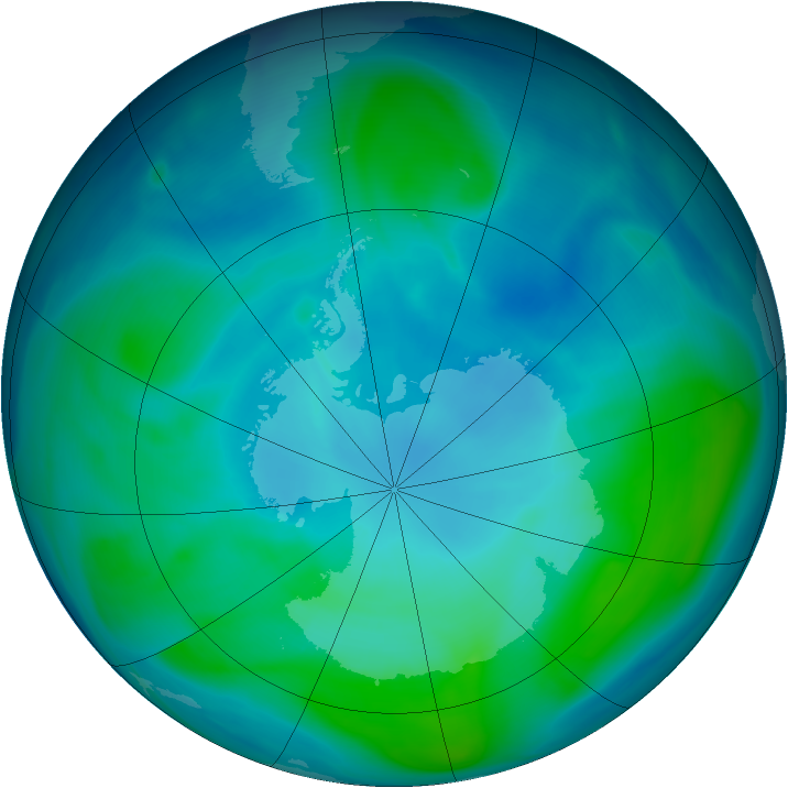 Antarctic ozone map for 25 January 2005