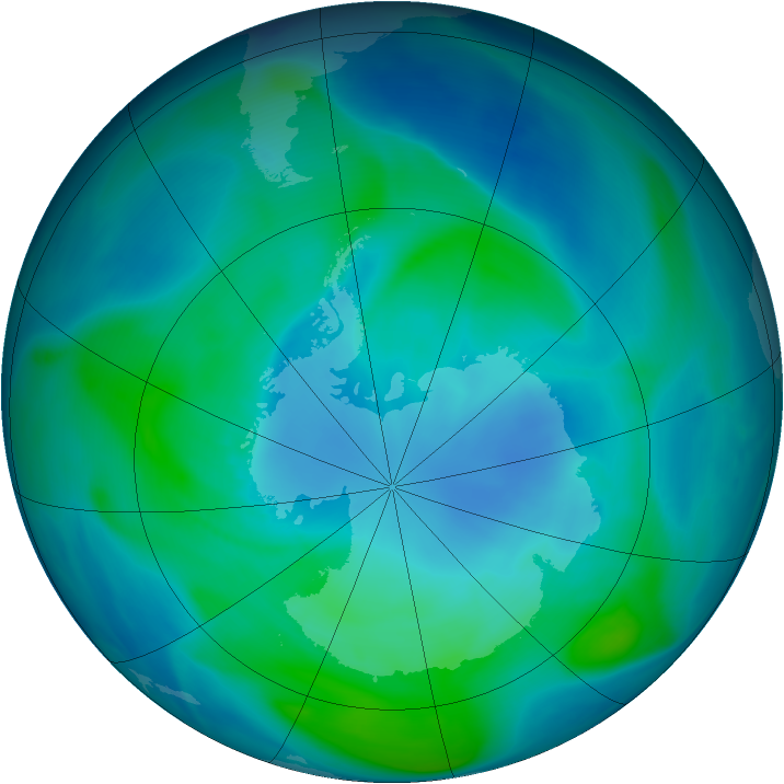 Antarctic ozone map for 31 January 2005