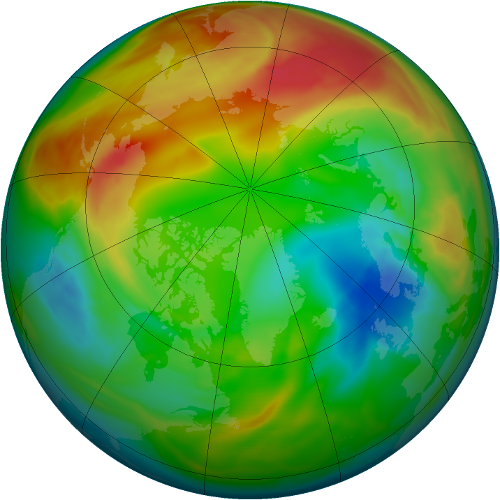 Arctic ozone map for 02 February 2005