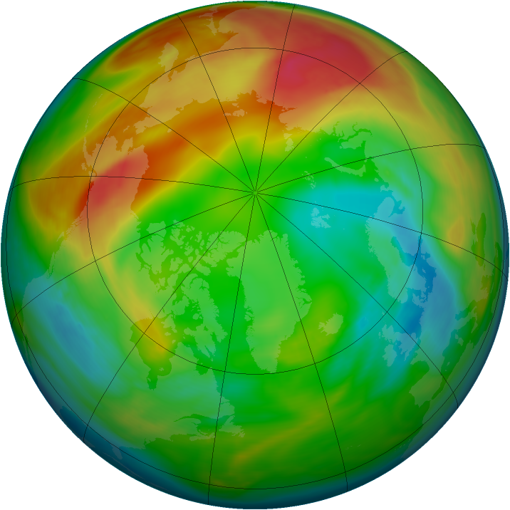 Arctic ozone map for 03 February 2005